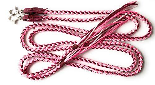 Viva Nature Western-Flecht-Zügel Handgeflochten \\ bunt \\ offen (Pink Bordeaux)