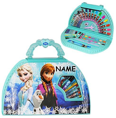 51 TLG. Set __ Stifte-Koffer -  Disney Frozen - die Eiskönigin  - incl. Name - Malkoffer mit Stiften + Filzstifte + Buntstifte + Wasser Farben + Wachsmal FA.. ()