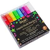Little Star - Marcadores de tiza líquida para pizarra y vidrio, paquete de 8, 3mm, borrable, punta biselada y gruesa, tinta líquida
