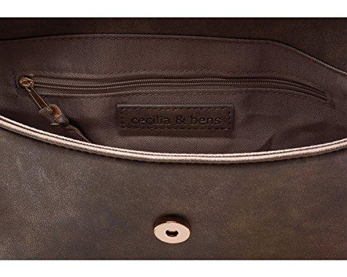 cecilia&bens Clutch Bag | Unterarmtasche | Abendtasche braun-glitzer