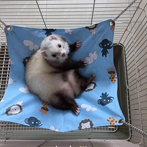 Margelo Frettchen-Hängematte für Katzen, Rattan, aus Naturfasern, weich, kühl und bequem, für Katzen, Katzen oder kleine Tiere, blau