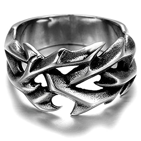 Stainless Steel Ring for Men, Hollow Ring Gothic Silver Band 15*23MM Size V 1/2 Epinki