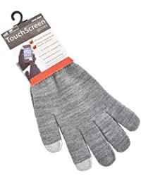 Ladies Grey Touch Screen Stretch Gloves Light Grey Tips Winter Accessory Phone