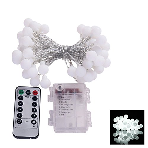 FOReverweihuajz 50 LED Cute Ball Shaped 8 Modes Fairy String Light with a Remote Control,Christmas Wedding Home Party Lamp Decor Pure White