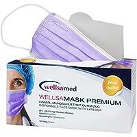 wellsamed wellsamask Mundschutz OP-Masken Einweg 50 Stück lila lavendel Flieder Gummibänder 3-lagig preisvergleich bei billige-tabletten.eu