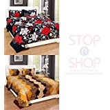 Stop N Shopp Super Home Combo Set Of 2 Grace Cotton King Size Double Bedsheet With 4 Pillow Covers