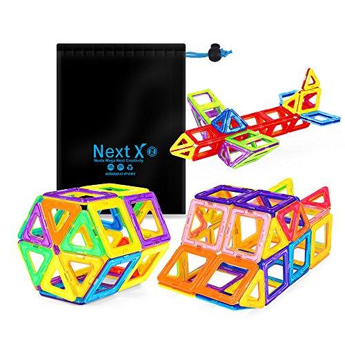 NextX Pädagogische Bausteine Sets, Magnetische Bauklötze Magnetspielzeug Weihnachtsgeschenk für Jungen und Mädchen ab 3 Jahren (56-Stück)