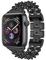 Apple Watch Armband, 12shage Strap 44mm Metal Band Uhrenarmband Schlaufe Watch Armbänder für Iwatch Series 4 (Schwarz)