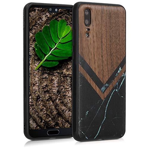 kwmobile Holz Schutzhülle für Huawei P20 - Hardcase Hülle mit TPU Bumper Walnussholz in Holz Glory Marmor Design Schwarz Weiß Dunkelbraun - Handy Case Cover