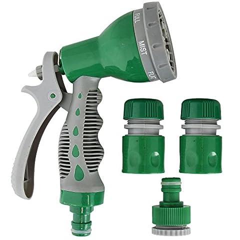 Multi-Function 7 Dial Soft Grip Garden Hose Pipe Water Spray Nozzle Gun Set Tap Lock Fitting Adaptor