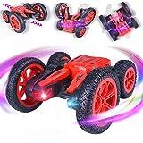 ETEPON Macchina Telecomandata, 4WD RC Stunt Car 360°Rotazione Acrobatica RC Auto, 2.4GHZ Macchina Radiocomandata con Luci a LED per Bambini Giocattoli - EQ71(Rosso)