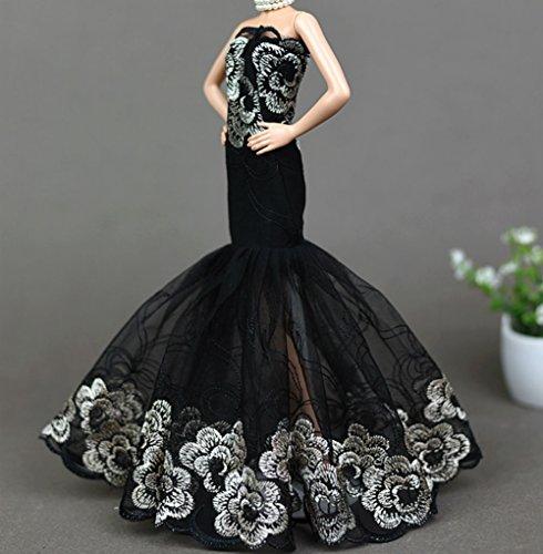 Kostüm Puppe Vintage Barbie (AK20 Schöne und modische Handgefertigte Puppe Kleidung für Barbie Puppen/kleid/Pyjama/Puppenzubehör Dress Up/Spitzenkleid (Rose Red)