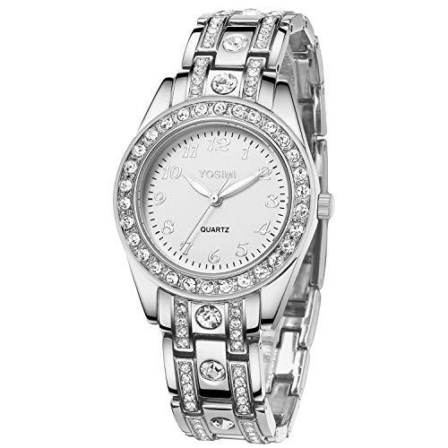 Orologio donna YOSIMI con display analogico e bracciale Numeri stile arabo argento lussuoso Forma rotonda con cristalli Bling e mani luminose Impermeabile