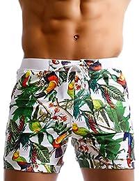 Taddle - Short largo para hombre, estilo bermuda, con estampado de flores, para natación y surf