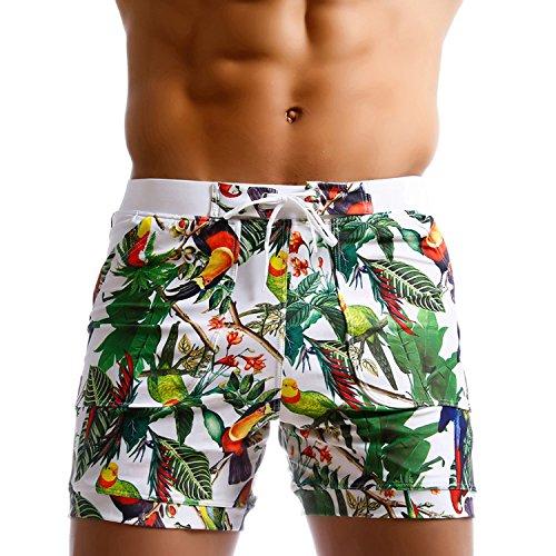 Taddlee Caleçon de bain long pour homme, planche, surf, motif floral - M