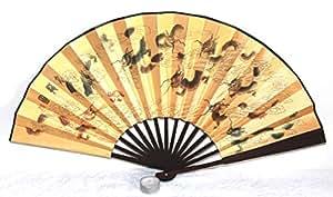 Echter chinesischer Handfächer 028, auch sehr schön als Deko Fächer mit chinesischen Symbolen und buntem Drachen