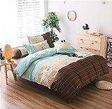 HTST Einfache Gestreiften bettwäsche Polyester Schlafzimmer flachblech Nicht verblassen Bettbezüge Geschenk 3 stücke, 010, 150x200cm