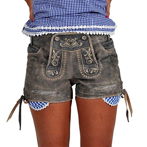 Trachten Lederhose Damen Ziegenleder in Jeansoptik Hot Pants zum Oktoberfest Braun