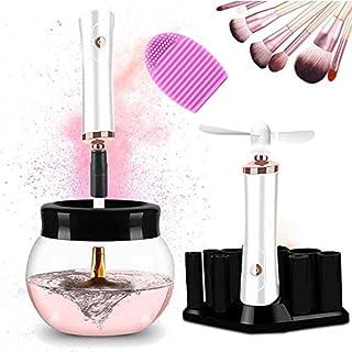 H&L Elektrisch Makeup Pinsel Waschen Reiniger Trockner Set Kosmetischer Pinsel Reinigung Werkzeug 360° Drehung Tiefenreinigung Spin-dry 8 Größe Gummikragen, Silikon Reiniger Matte, Mini Fan, Weiß
