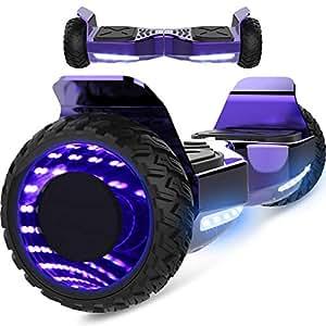 Markboard gyropode Hummer 6.5 Pouces, Gyropode SUV Tout-Terrain, avec Bluetooth et LED, Smart Scooter Électrique Auto-équilibrage EL-ES06(Violet)
