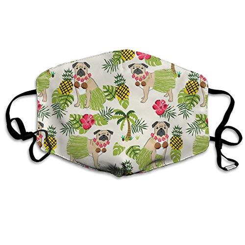 Mops Hula Tropische Hawaii-Inseln Hund Rasse Licht Anti Staub Maske Anti-Verschmutzung Waschbar Wiederverwendbar Mundmasken