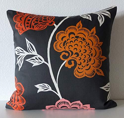 565pir Thomas Paul Garden Court Black Floral Kissenbezug Orange Pink Schwarz Dekorative Kissenbezug -