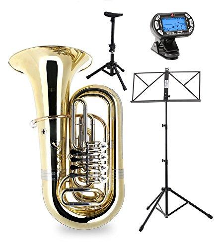 Classic Cantabile BRASS T-190 4/4 Bb Tuba SET inkl. Mundstück, Softcase, Notenständer, Metronom und Tuba-Spielständer