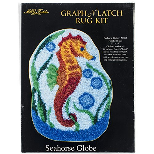 M C G Textiles Latch Hook Kit Shaped, 20-Inch by 27-Inch, Seahorse Globe by MCG Textiles
