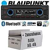 Audi A6 4b ab 2001 CanBus und Lenradfernbedienung - Autoradio Radio Blaupunkt Doha - Bluetooth CD MP3 USB - Einbauzubehör - Einbauset