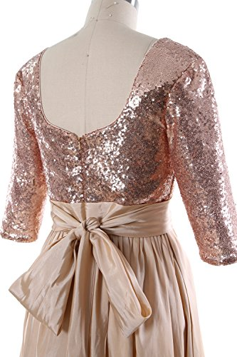 MACloth - Robe - Trapèze - Manches 3/4 - Femme Rose Gold-Ivory