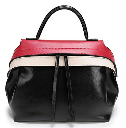 Xinmaoyuan Handtaschen der Frauen tragbaren Leder nähen Quaste Tasche Damen Freizeit Obliquer Querschnitt Paket Schwarz