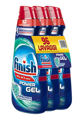 Finish Detersivo Lavastoviglie All in 1 Max Powergel, Regular, 3 x 650 ml, 96 Lavaggi