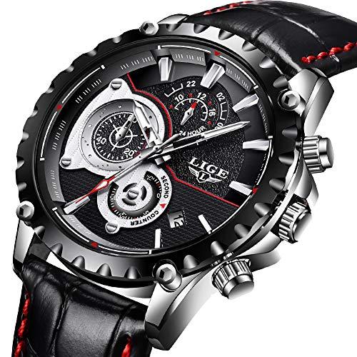 Uhren für Herren,LIGE Herren Fashion Lederband wasserdicht Sport Military Watch Chronograph Datum Kalender Top-Marke Luxus Analog Quarz-Armbanduhr schwarz (Wasserdichte Sportliche Uhr)