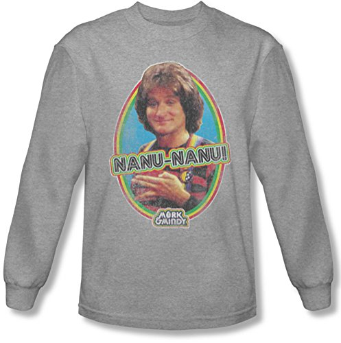 Mork & Mindy - Männer Nanu Nanu Langarm-Shirt In Heather Heather