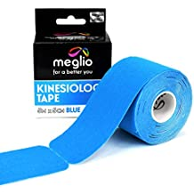 Nastro kinesiológico Meglio Pre-Cortado Rollo 5m - Actividades Deportivas - Aplicar en Rodillas, Codos, Hombros y Cuello - Diseño Terapéutico por Physios - Algodón 100%