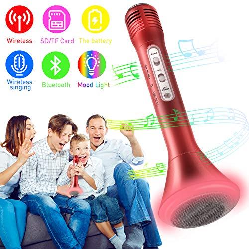 krofon, Portable Drahtlose Handmikrofon Lautsprecher Player Kabellos Mikrofon, Mikrofon Kinder für KTV Musik singen spielen, Unterstützung iPhone Android IOS Smartphone - (Rot) ()