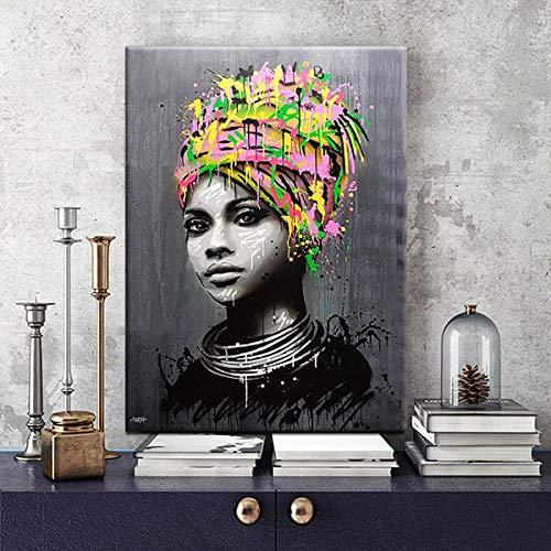 Zgmtj ragazza africana astratta con la parete di arte della parete di arte moderna della parete di arte della pittura di arte di schiocco dei graffiti della donna di colore cuadros