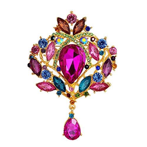Libelle Vintage-kleidung (Contever® Damen's Suit Brosche Boutonniere Pins mit Glaskristall Dekoration Tie Hat Kleidung (Bunte))