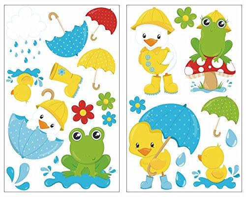 Samunshi® 23-teiliges Süße Tiere im Regen Wandtattoo Set Kinderzimmer Babyzimmer Frosch (2x16x26cm)