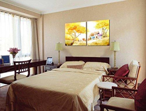 2 piezas Lona Paisaje Arte Contemporaneo Pintura Dividir lienzo Imagen del arte de la pared ilustraciones lienzo, Enmarcado, listo para colgar # 12-216