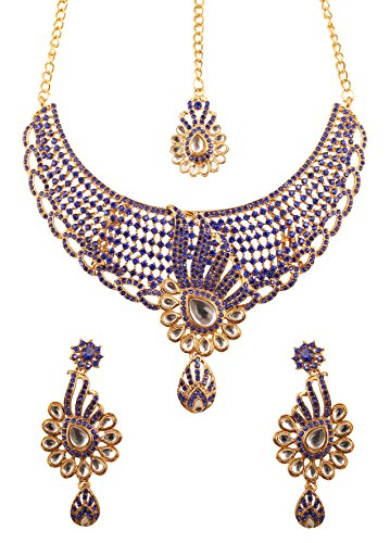 llywood Tinsel Town Exclusive Kundan Polki Look Blue Rhinestone Heavy Designer Bridal Jewelry Necklace Set for Women In Antique Gold Tone. ()