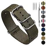 Fullmosa NATO 18mm 20mm 22mm 24mm Bracelet Montre pour Homme Femme, 10 Couleurs Montre Bracelet Nylon à Rayure avec Fermoir Métal Réglable, Vert d'armée 20mm