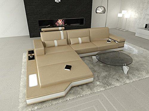 Divanova | divano moderno proxima angolare in similpelle - beige e bianco