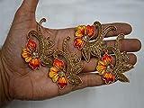 Toppa decorativa Zari realizzata a mano, ricamata a mano, decorazione floreale, multicolore, 6,3 cm, per pochette e attrezzi