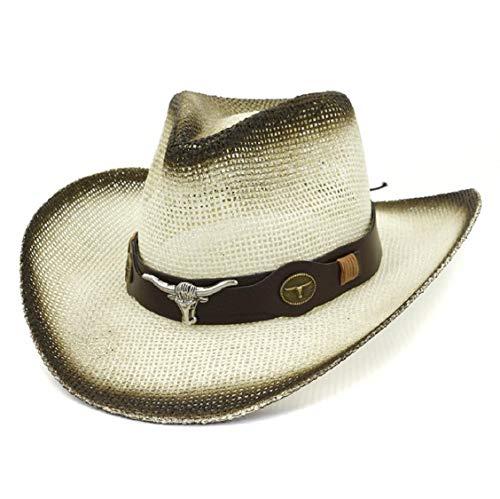 Kostüm Jungen Cowboy Brown - Koojawind Herren Damen Plain Style Cowboyhut Mit GüRtel Mit Schnalle Naturstroh Cowboyhut Herren/Damen Western Cowboy Bucket Brim Cap Sonnenschutzhut