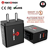 #6: TOKYOTRON (JAPAN) 2 USB PORTS/ SMART CHARGE IC / 3.4A (2.4A+1A) Wall Charger Adapter [ Maximum Safety Features] / Turbo Fast / for Apple iPhone 4s 5s 6 Android Samsung Vivo Oppo Moto G3 HTC Redmi Note 3 and more mobile phones tablets and other electronics