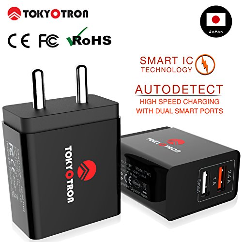 TOKYOTRON (JAPAN) 2 USB PORTS/ SMART CHARGE IC / 3.4A (2.4A+1A) Wall Charger Adapter [Max. Output - 3.1 A / Maximum Safety Features] for Apple Samsung Vivo Oppo HTC and more mobile phones tablets and