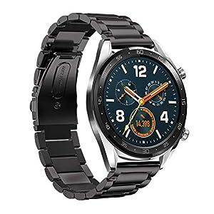 Armband für Huawei Watch GT,Bloodfin Kristall metallarmband Edelstahl Metall Ersatzband mit Faltschließe Smart Watch Armbänder SmartWatch Schlaufe Uhrenarmband für Männer Frauen