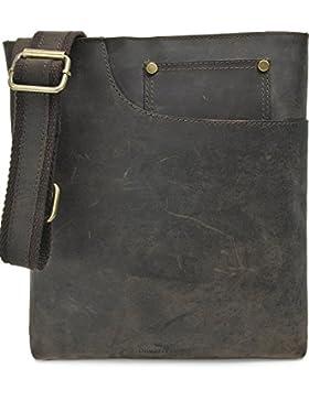 Vintage Ledertasche von 'URBAN FOREST, Cntmp' Leder Umhängetasche Messengerbag Schultertasche, Crossover Taschen...