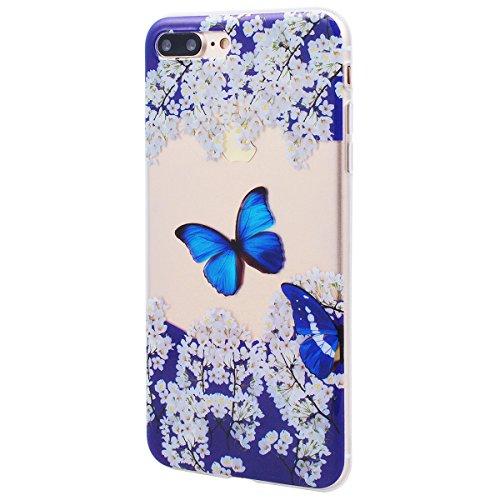 """GrandEver Coque iPhone 7 Plus (5.5"""") Transparente Silicone Gel avec Motif Antichoc Kawaii Rigide Souple Bumper Design Ultra Fine One piece Etui Cover Case Housse pour iPhone 7 Plus --- Ananas Papillon Bleu"""